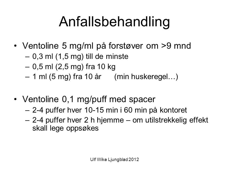 Ulf Wike Ljungblad 2012 Anfallsbehandling •Ventoline 5 mg/ml på forstøver om >9 mnd –0,3 ml (1,5 mg) till de minste –0,5 ml (2,5 mg) fra 10 kg –1 ml (5 mg) fra 10 år (min huskeregel…) •Ventoline 0,1 mg/puff med spacer –2-4 puffer hver 10-15 min i 60 min på kontoret –2-4 puffer hver 2 h hjemme – om utilstrekkelig effekt skall lege oppsøkes