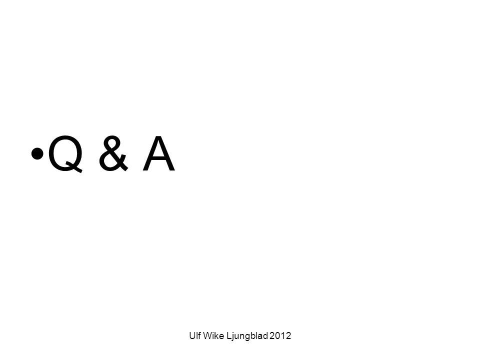 Ulf Wike Ljungblad 2012 •Q & A