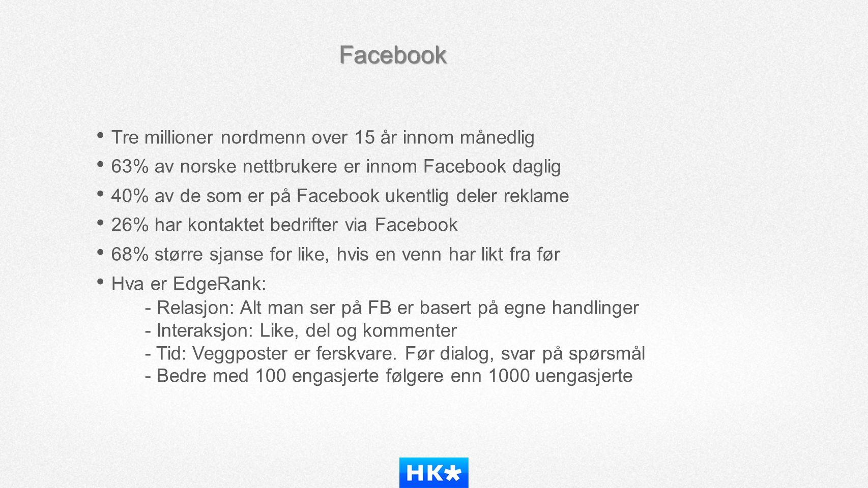 Facebook • Tre millioner nordmenn over 15 år innom månedlig • 63% av norske nettbrukere er innom Facebook daglig • 40% av de som er på Facebook ukentl