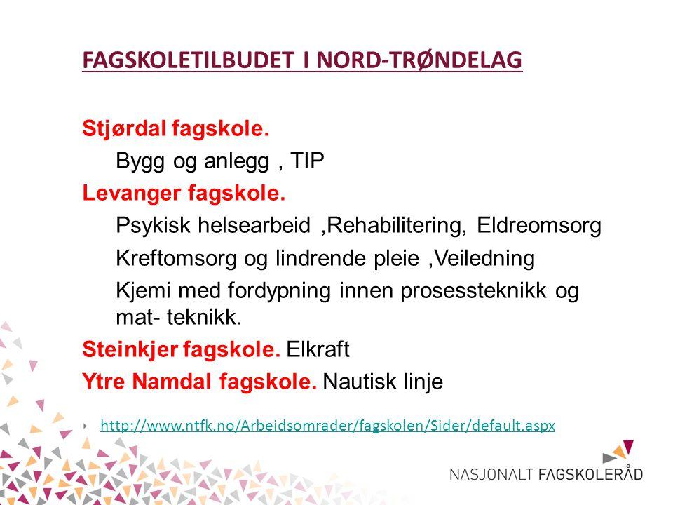 FAGSKOLETILBUDET I NORD-TRØNDELAG Stjørdal fagskole.