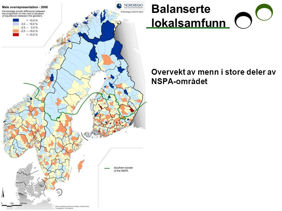 Balanserte lokalsamfunn Overvekt av menn i store deler av NSPA-området