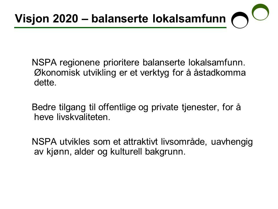 Visjon 2020 – balanserte lokalsamfunn NSPA regionene prioritere balanserte lokalsamfunn.