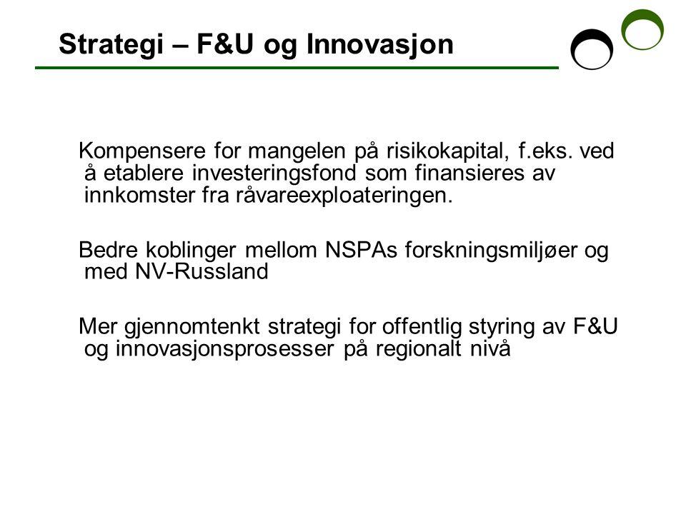 Strategi – F&U og Innovasjon Kompensere for mangelen på risikokapital, f.eks.