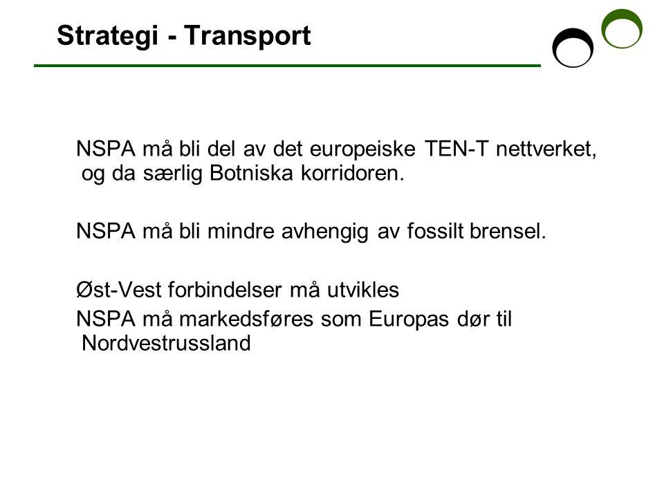 Strategi - Transport NSPA må bli del av det europeiske TEN-T nettverket, og da særlig Botniska korridoren.