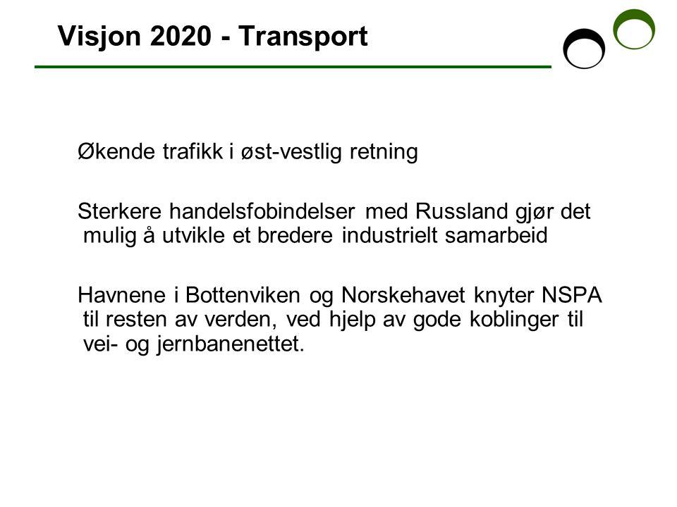 Visjon 2020 - Transport Økende trafikk i øst-vestlig retning Sterkere handelsfobindelser med Russland gjør det mulig å utvikle et bredere industrielt samarbeid Havnene i Bottenviken og Norskehavet knyter NSPA til resten av verden, ved hjelp av gode koblinger til vei- og jernbanenettet.