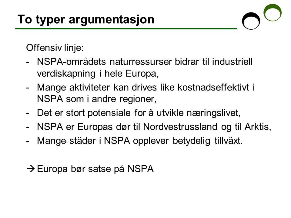 To typer argumentasjon Offensiv linje: -NSPA-områdets naturressurser bidrar til industriell verdiskapning i hele Europa, -Mange aktiviteter kan drives like kostnadseffektivt i NSPA som i andre regioner, -Det er stort potensiale for å utvikle næringslivet, -NSPA er Europas dør til Nordvestrussland og til Arktis, -Mange städer i NSPA opplever betydelig tillväxt.