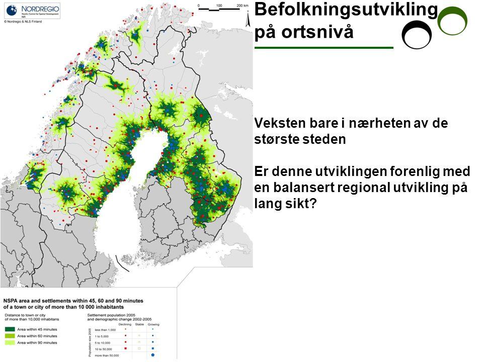 Strategi – demografisk utvikling Forskjellige ambisjoner: - tillväxtområder, og områder med befolkningsnedsgang, - mer eller mindre glese områder.