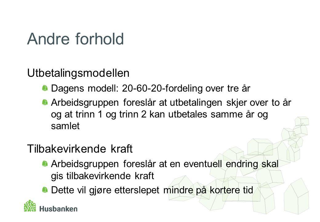 Andre forhold Utbetalingsmodellen Dagens modell: 20-60-20-fordeling over tre år Arbeidsgruppen foreslår at utbetalingen skjer over to år og at trinn 1