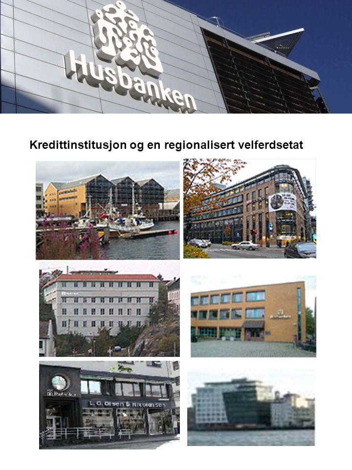 Hovedkontoret : Forvaltnings- og Strategikontoret Region sør – kontorsted Drammen Region øst Region vest Region sør – kontorsted Arendal Region Midt-Norge Region Bodø Region Hammerfest Samlet ca 340 årsverk Husbankens nye hovedkontor