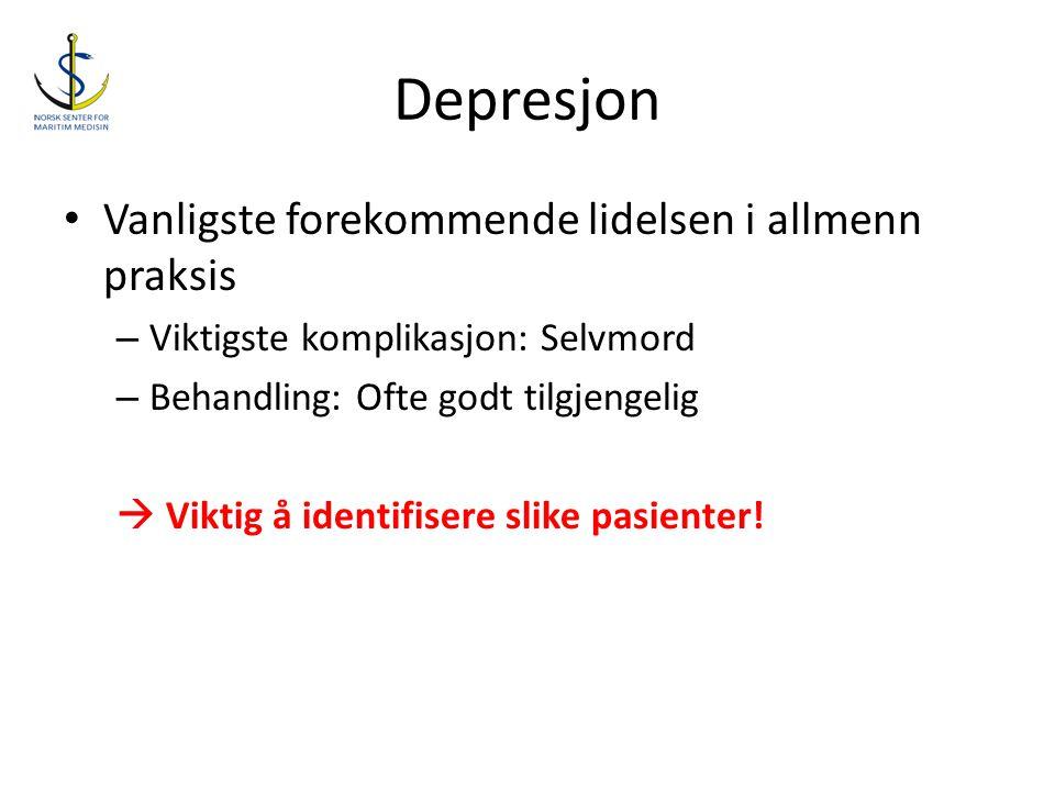Depresjon • Vanligste forekommende lidelsen i allmenn praksis – Viktigste komplikasjon: Selvmord – Behandling: Ofte godt tilgjengelig  Viktig å ident