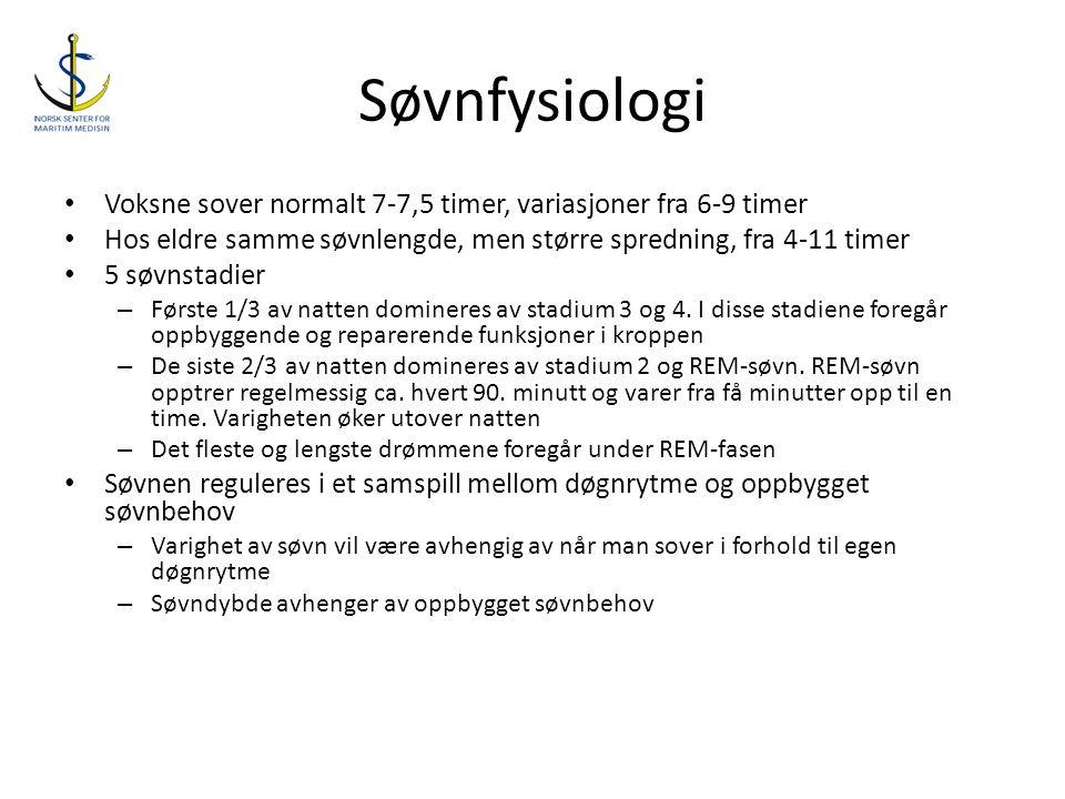 Søvnfysiologi • Voksne sover normalt 7-7,5 timer, variasjoner fra 6-9 timer • Hos eldre samme søvnlengde, men større spredning, fra 4-11 timer • 5 søv