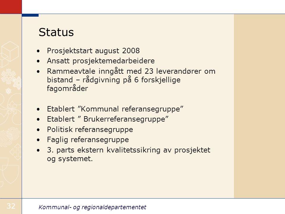 Kommunal- og regionaldepartementet 32 Status •Prosjektstart august 2008 •Ansatt prosjektemedarbeidere •Rammeavtale inngått med 23 leverandører om bist