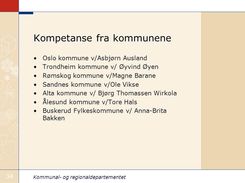 Kommunal- og regionaldepartementet 34 Kompetanse fra kommunene •Oslo kommune v/Asbjørn Ausland •Trondheim kommune v/ Øyvind Øyen •Rømskog kommune v/Ma