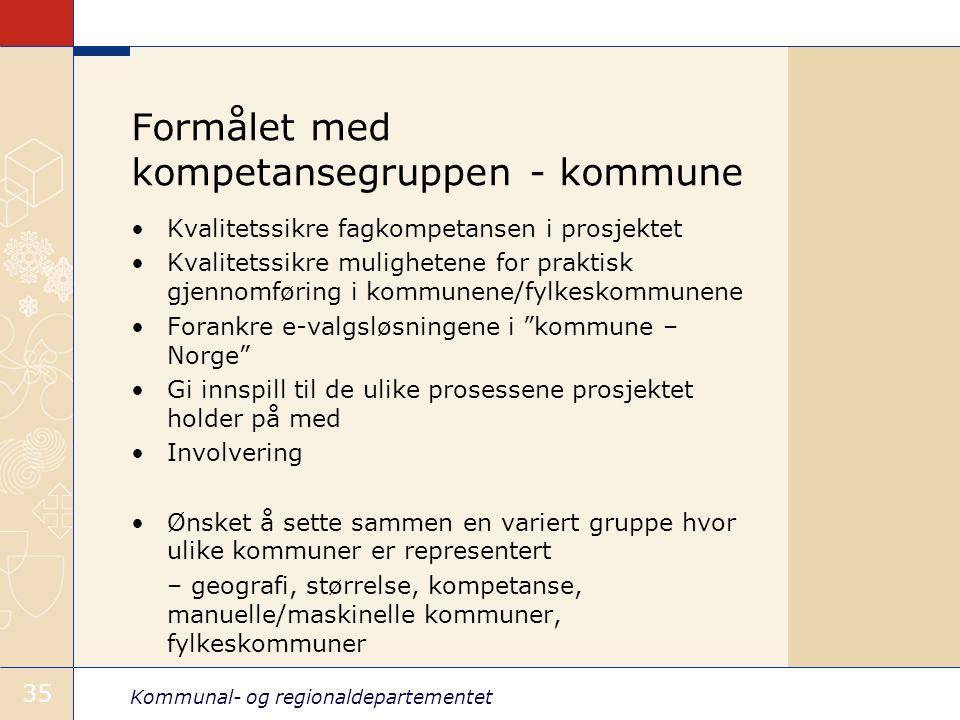 Kommunal- og regionaldepartementet 35 Formålet med kompetansegruppen - kommune •Kvalitetssikre fagkompetansen i prosjektet •Kvalitetssikre mulighetene