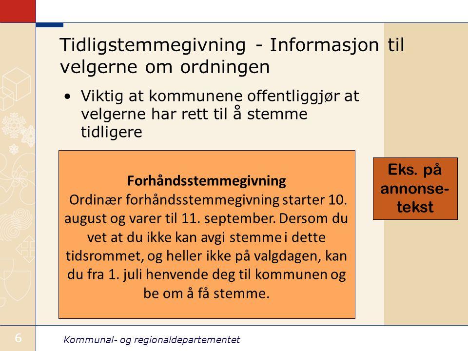 Kommunal- og regionaldepartementet 27 Kirkevalg forts.