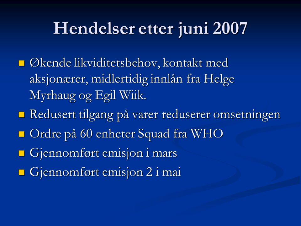 Hendelser etter juni 2007  Økende likviditetsbehov, kontakt med aksjonærer, midlertidig innlån fra Helge Myrhaug og Egil Wiik.