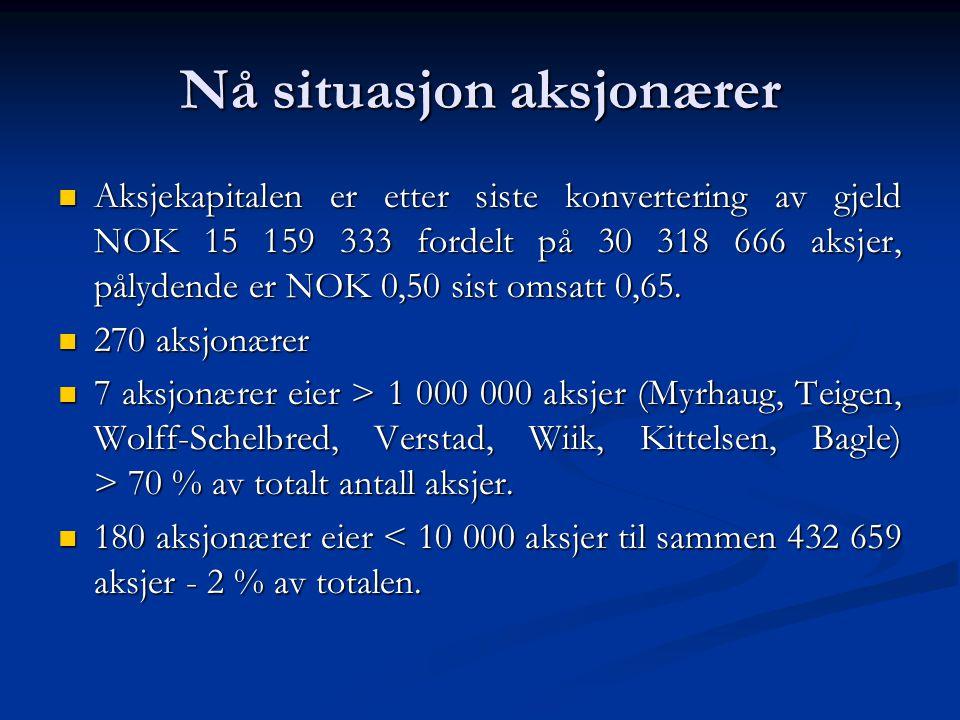 Nå situasjon aksjonærer  Aksjekapitalen er etter siste konvertering av gjeld NOK 15 159 333 fordelt på 30 318 666 aksjer, pålydende er NOK 0,50 sist omsatt 0,65.