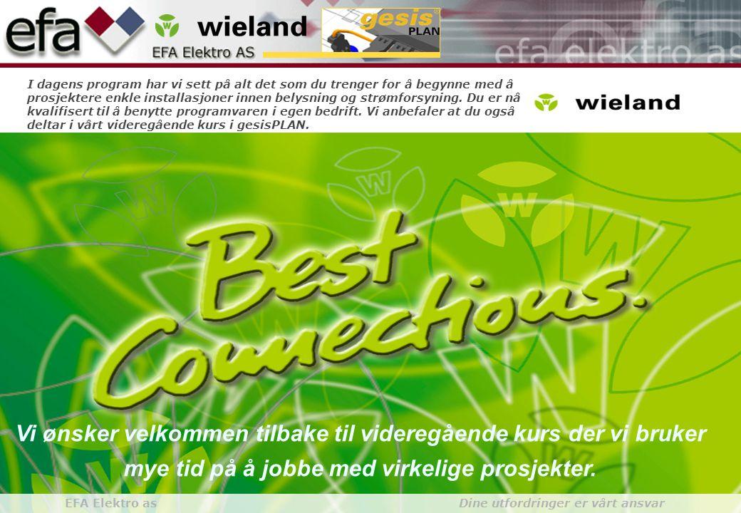 Wieland GroupBuilding Installationgesis gesisPLAN EFA Elektro as Dine utfordringer er vårt ansvar Vi ønsker velkommen tilbake til videregående kurs der vi bruker mye tid på å jobbe med virkelige prosjekter.