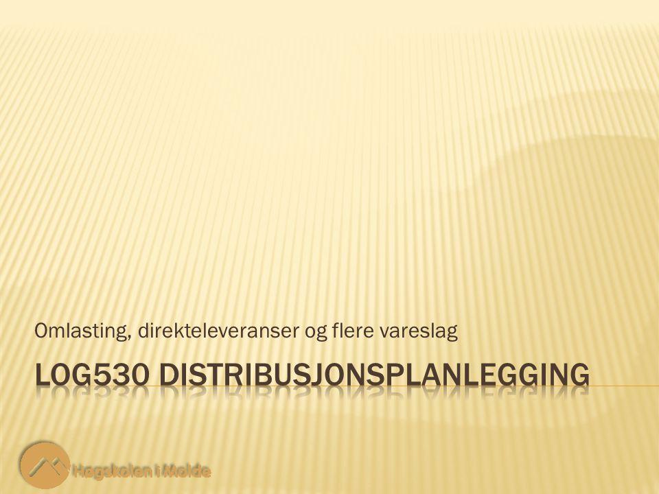 LOG530 Distribusjonsplanlegging 2 2 Vi har nå utvidet nettverket med flere vareslag.