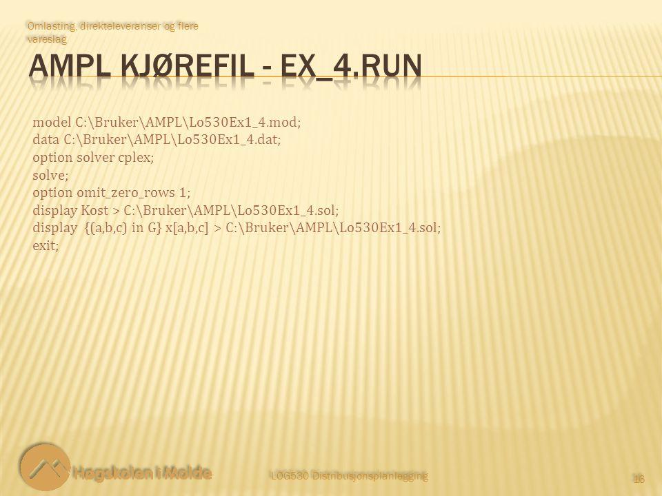 LOG530 Distribusjonsplanlegging 16 Omlasting, direkteleveranser og flere vareslag model C:\Bruker\AMPL\Lo530Ex1_4.mod; data C:\Bruker\AMPL\Lo530Ex1_4.