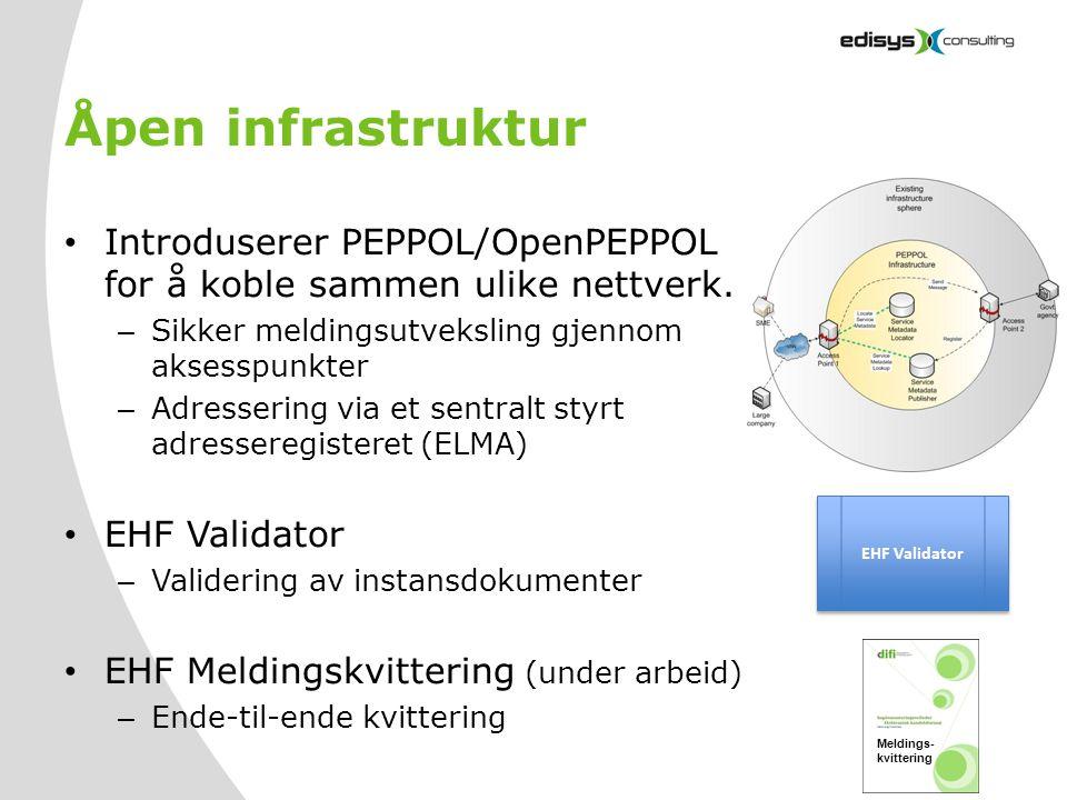 Åpen infrastruktur • Introduserer PEPPOL/OpenPEPPOL for å koble sammen ulike nettverk. – Sikker meldingsutveksling gjennom aksesspunkter – Adressering