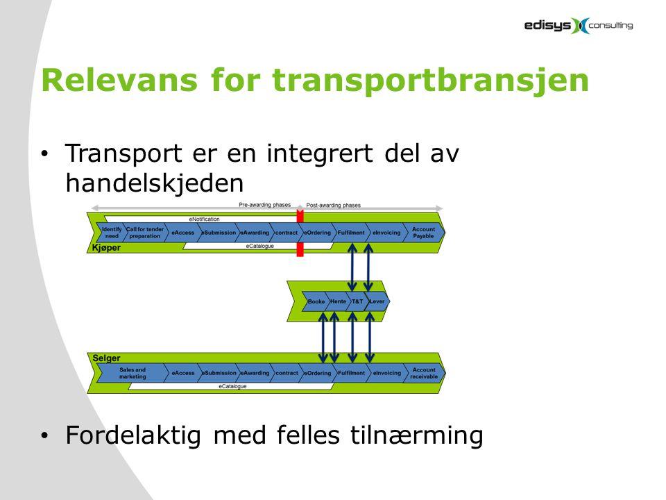 Relevans for transportbransjen • Transport er en integrert del av handelskjeden • Fordelaktig med felles tilnærming