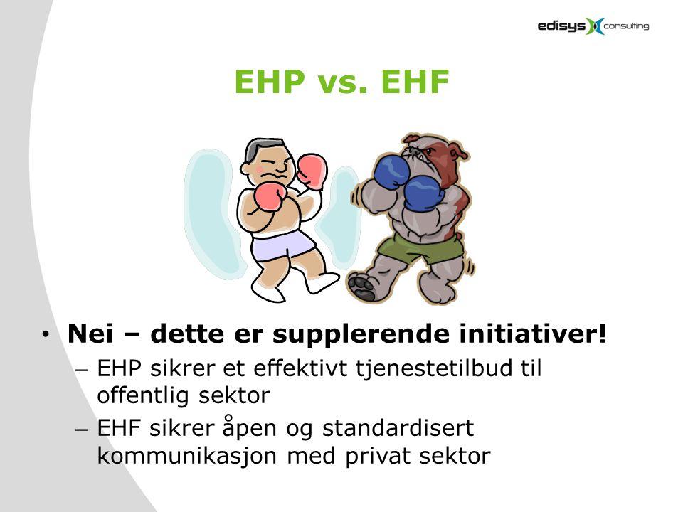 EHP vs. EHF • Nei – dette er supplerende initiativer! – EHP sikrer et effektivt tjenestetilbud til offentlig sektor – EHF sikrer åpen og standardisert