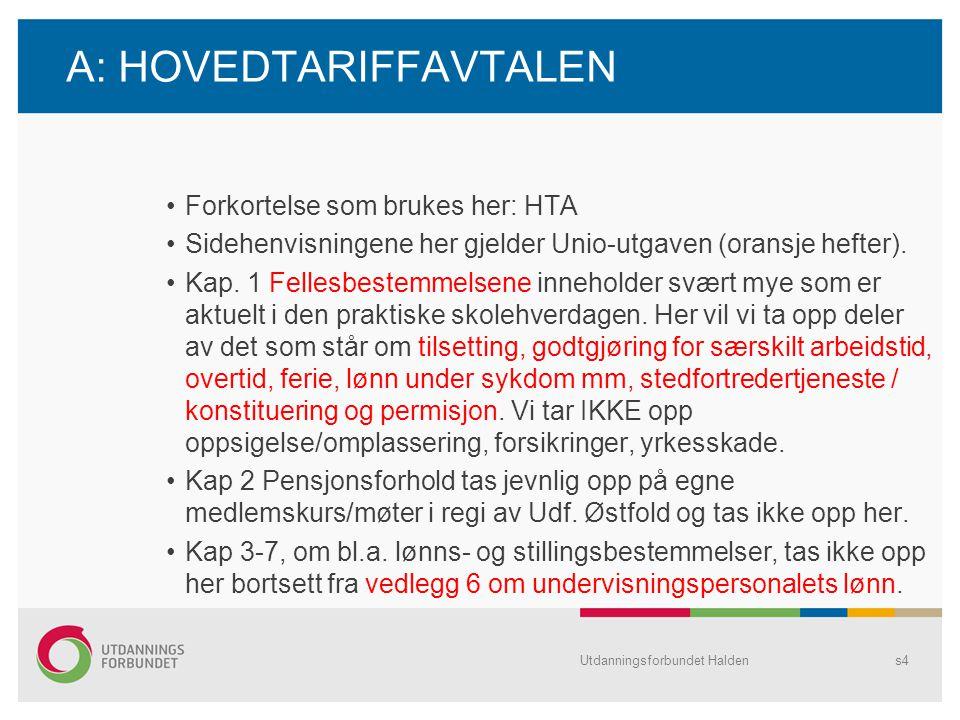 A: HOVEDTARIFFAVTALEN •Forkortelse som brukes her: HTA •Sidehenvisningene her gjelder Unio-utgaven (oransje hefter). •Kap. 1 Fellesbestemmelsene inneh