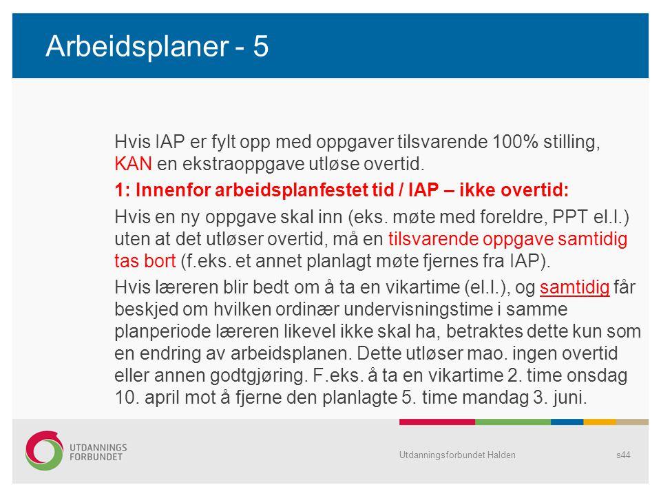 Arbeidsplaner - 5 Hvis IAP er fylt opp med oppgaver tilsvarende 100% stilling, KAN en ekstraoppgave utløse overtid. 1: Innenfor arbeidsplanfestet tid