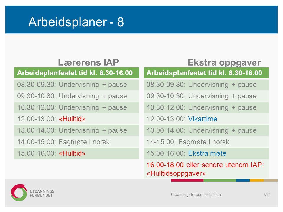 Arbeidsplaner - 8 Lærerens IAP Arbeidsplanfestet tid kl. 8.30-16.00 08.30-09.30: Undervisning + pause 09.30-10.30: Undervisning + pause 10.30-12.00: U