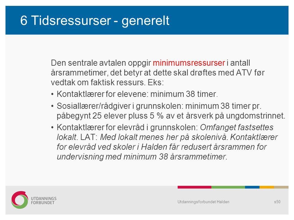 6 Tidsressurser - generelt Den sentrale avtalen oppgir minimumsressurser i antall årsrammetimer, det betyr at dette skal drøftes med ATV før vedtak om
