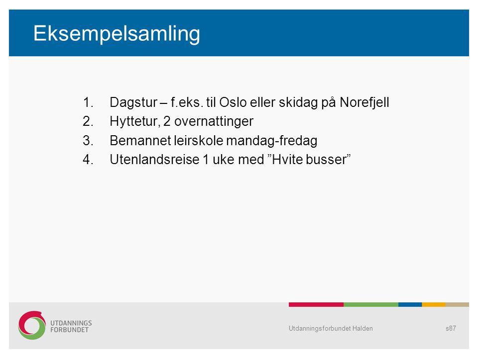 Eksempelsamling 1.Dagstur – f.eks. til Oslo eller skidag på Norefjell 2.Hyttetur, 2 overnattinger 3.Bemannet leirskole mandag-fredag 4.Utenlandsreise