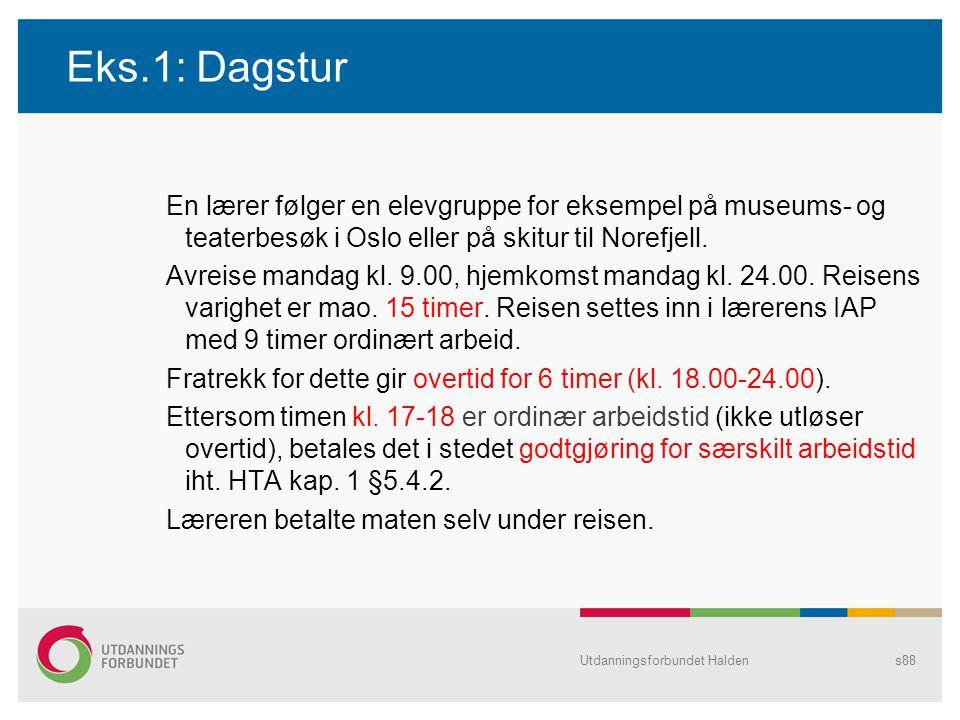 Eks.1: Dagstur En lærer følger en elevgruppe for eksempel på museums- og teaterbesøk i Oslo eller på skitur til Norefjell. Avreise mandag kl. 9.00, hj