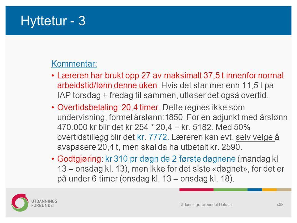 Hyttetur - 3 Kommentar: •Læreren har brukt opp 27 av maksimalt 37,5 t innenfor normal arbeidstid/lønn denne uken. Hvis det står mer enn 11,5 t på IAP