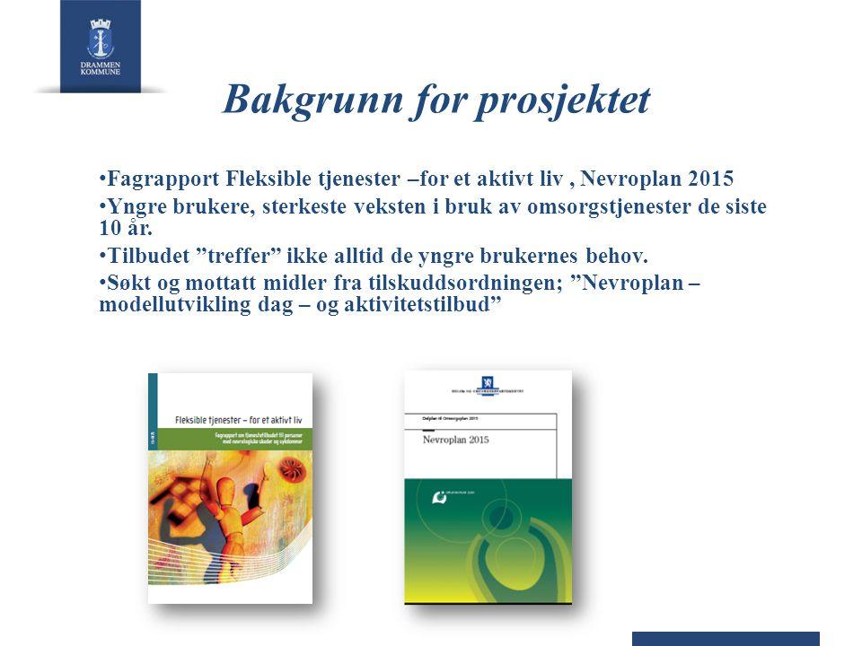 Bakgrunn for prosjektet • Fagrapport Fleksible tjenester –for et aktivt liv, Nevroplan 2015 • Yngre brukere, sterkeste veksten i bruk av omsorgstjenester de siste 10 år.