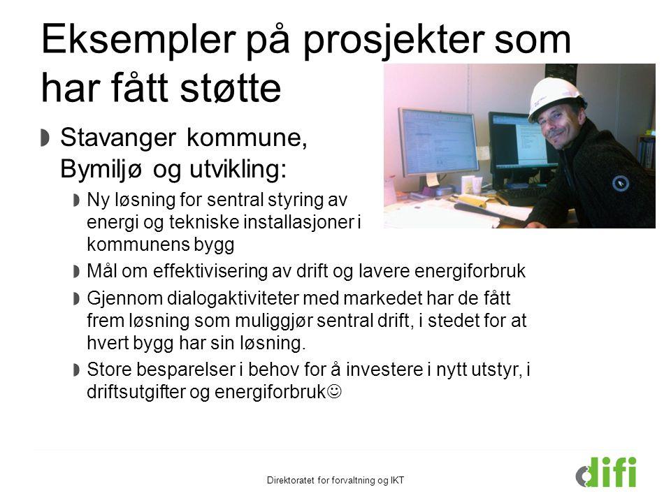Eksempler på prosjekter som har fått støtte Stavanger kommune, Bymiljø og utvikling: Ny løsning for sentral styring av energi og tekniske installasjon