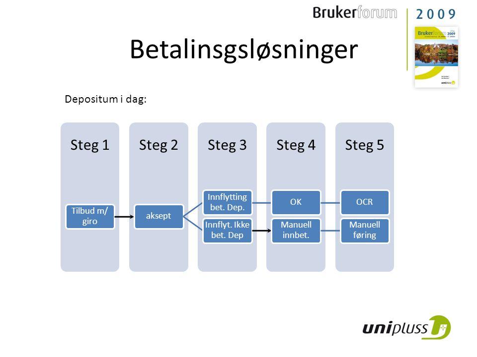 Betalinsgsløsninger Steg 5Steg 4Steg 3Steg 2Steg 1 Tilbud m/ giro aksept Innflytting bet.