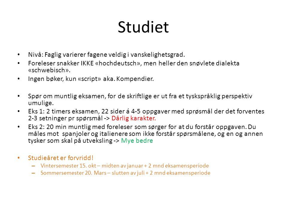 Studiet • Nivå: Faglig varierer fagene veldig i vanskelighetsgrad.