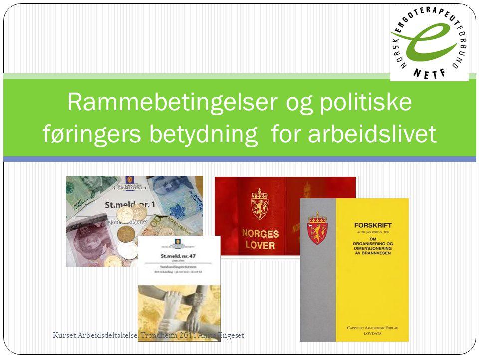 Rammebetingelser og politiske føringers betydning for arbeidslivet Kurset Arbeidsdeltakelse, Trondheim 2011 Anita Engeset