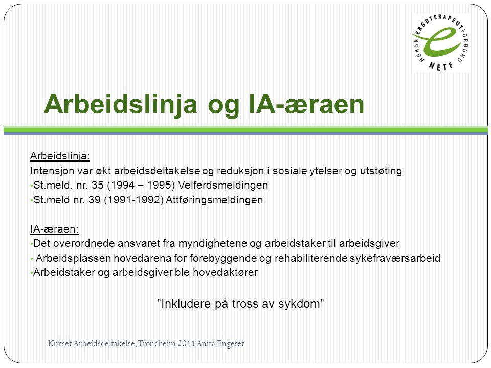 Arbeidslinja og IA-æraen Arbeidslinja: Intensjon var økt arbeidsdeltakelse og reduksjon i sosiale ytelser og utstøting • St.meld.