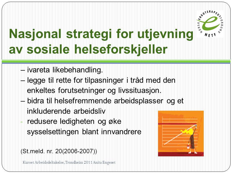 Nasjonal strategi for utjevning av sosiale helseforskjeller – ivareta likebehandling.