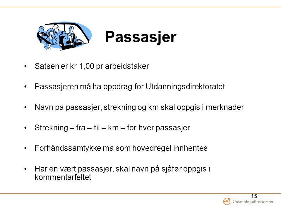 Passasjer •Satsen er kr 1,00 pr arbeidstaker •Passasjeren må ha oppdrag for Utdanningsdirektoratet •Navn på passasjer, strekning og km skal oppgis i m
