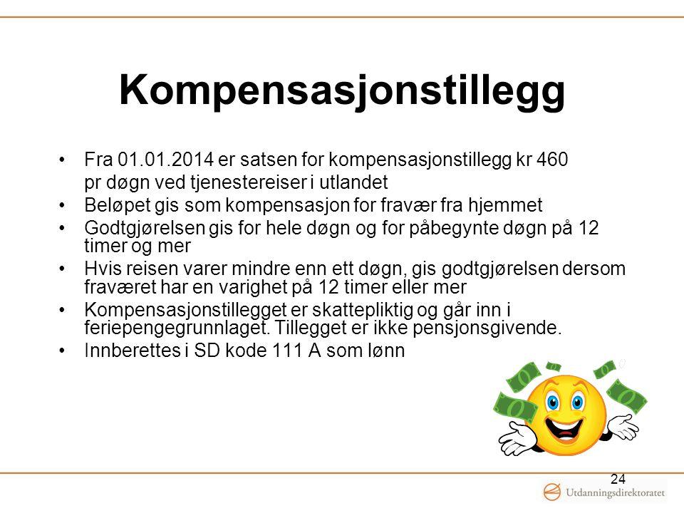 Kompensasjonstillegg •Fra 01.01.2014 er satsen for kompensasjonstillegg kr 460 pr døgn ved tjenestereiser i utlandet •Beløpet gis som kompensasjon for