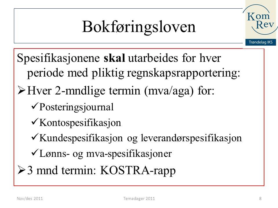 Bokføringsloven Spesifikasjonene skal utarbeides for hver periode med pliktig regnskapsrapportering:  Hver 2-mndlige termin (mva/aga) for:  Posterin