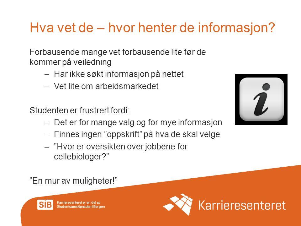 Karrieresenteret er en del av Studentsamskipnaden I Bergen Hva vet de – hvor henter de informasjon? Forbausende mange vet forbausende lite før de komm