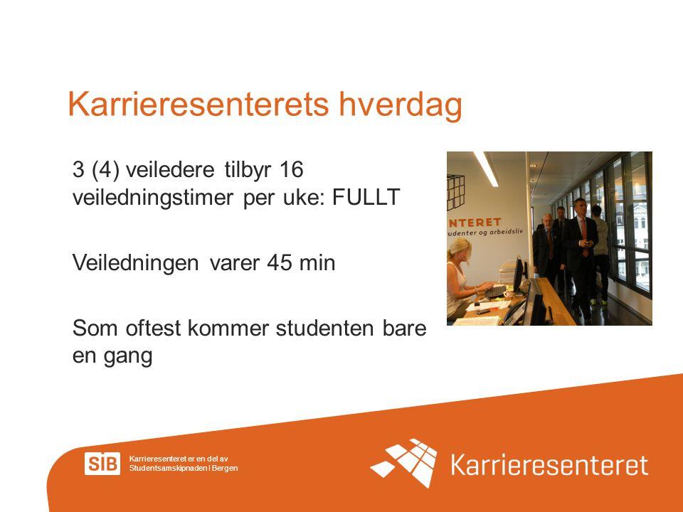 Karrieresenteret er en del av Studentsamskipnaden I Bergen Karrieresenterets hverdag 3 (4) veiledere tilbyr 16 veiledningstimer per uke: FULLT Veiledn