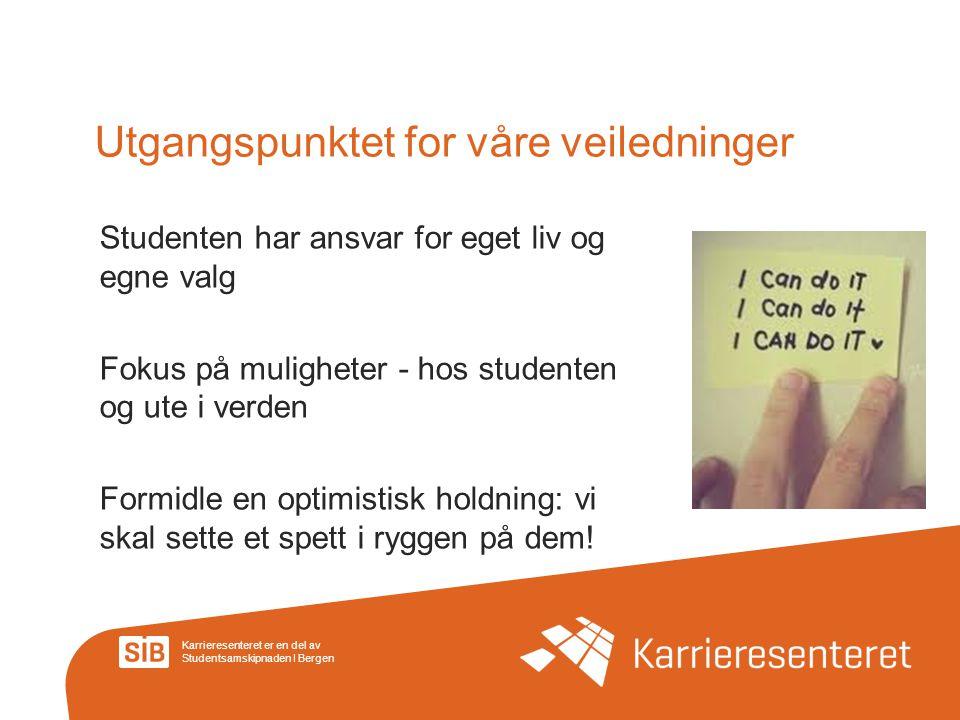 Karrieresenteret er en del av Studentsamskipnaden I Bergen Utgangspunktet for våre veiledninger Studenten har ansvar for eget liv og egne valg Fokus p