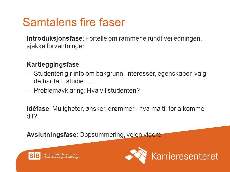Karrieresenteret er en del av Studentsamskipnaden I Bergen Samtalens fire faser Introduksjonsfase: Fortelle om rammene rundt veiledningen, sjekke forv