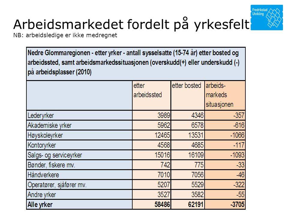 Arbeidsmarkedet fordelt på yrkesfelt NB: arbeidsledige er ikke medregnet