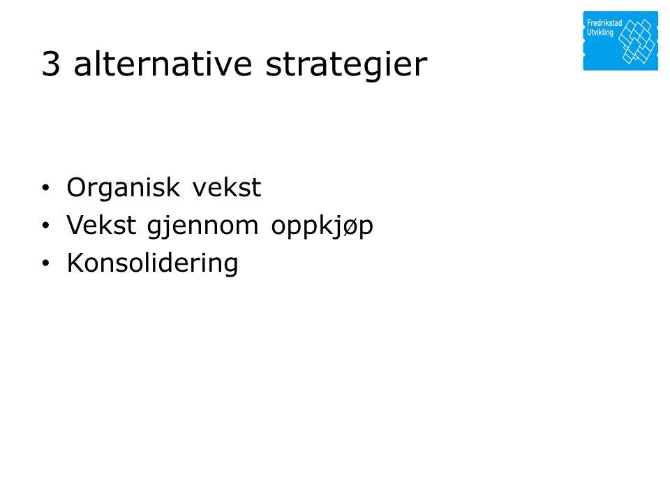 3 alternative strategier • Organisk vekst • Vekst gjennom oppkjøp • Konsolidering